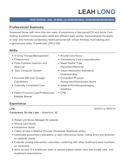 LPN resume format Michigan