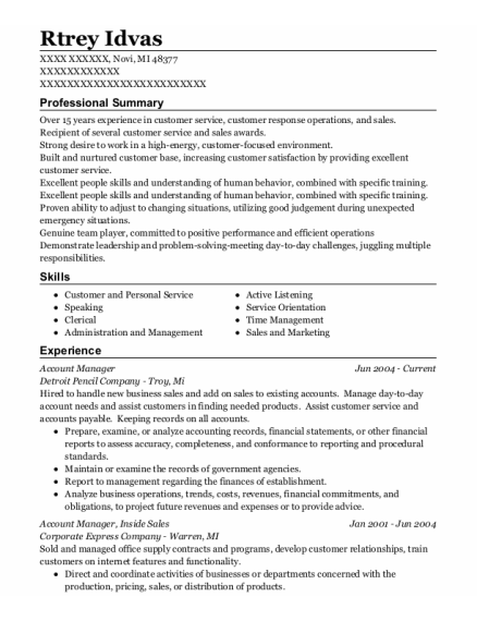 Account Manager resume sample Michigan