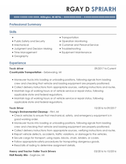 Truck Driver resume format Michigan
