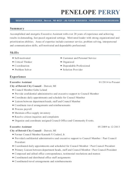 Executive Assistant resume example Michigan