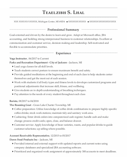 Yoga Instructor resume example Michigan