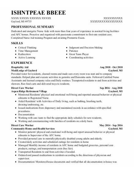 Hospitality Aide resume example Michigan