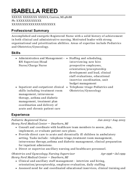 Pediatric Registered Nurse resume sample Michigan