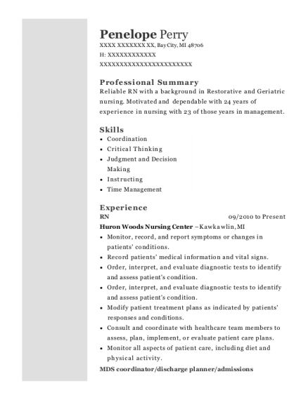 RN resume sample Michigan