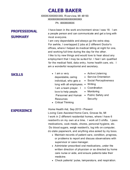 Home Health Aid resume format Michigan
