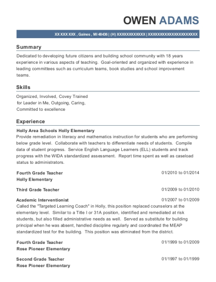 Fourth Grade Teacher resume sample Michigan