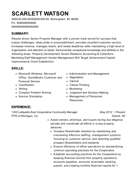 1300 Lafayette East Cooperative Community Manager resume sample Michigan