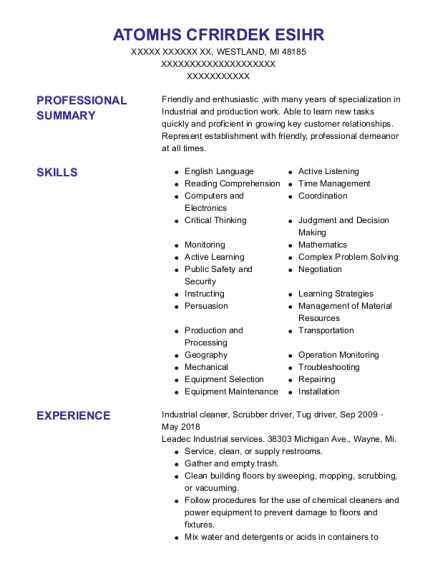 Industrial Cleaner resume example Michigan