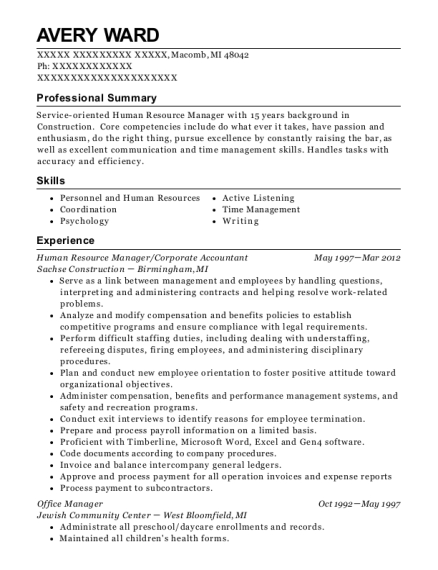 Human Resource Manager resume sample Michigan