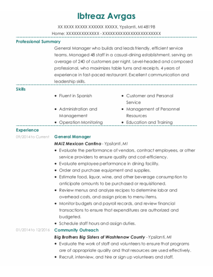 General Manager resume sample Michigan