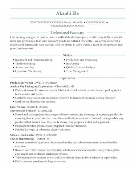 Production Worker resume template Michigan