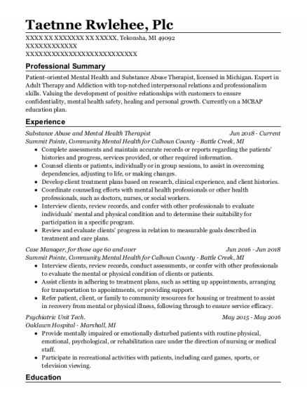 Case Manager resume template Michigan