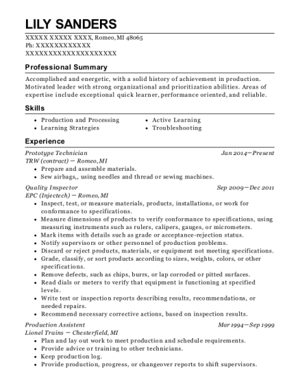 Prototype Technician resume template Michigan