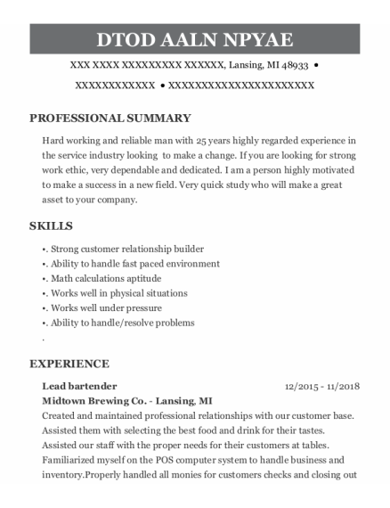 Lead Bartender resume example Michigan