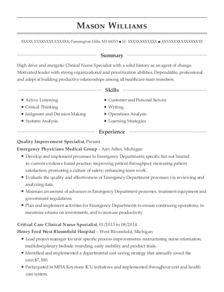 Quality Improvement Specialist resume format Michigan
