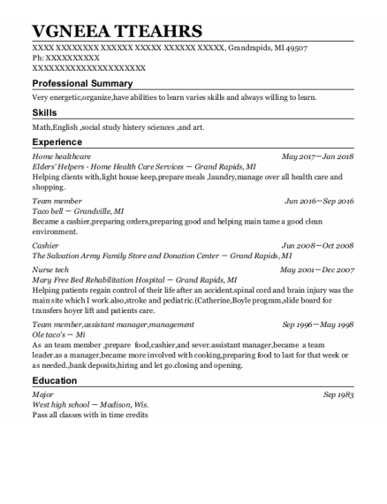 Home Healthcare resume sample Michigan