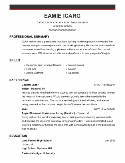General Labor resume format Michigan
