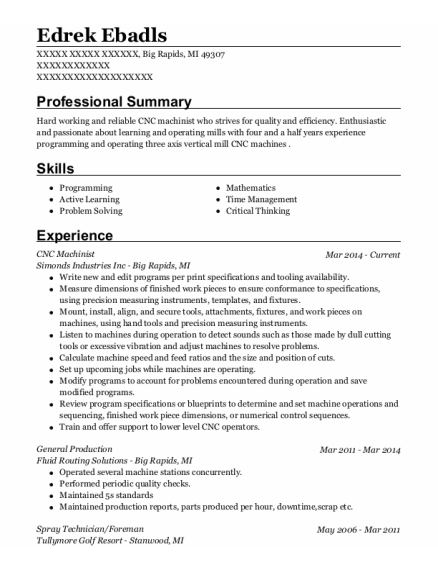 Cnc Machinist resume template Michigan