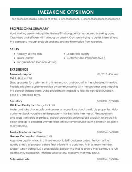 Personal Shopper resume example Michigan