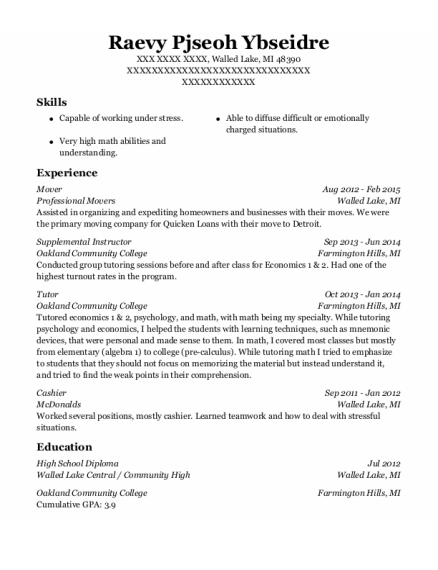 Mover resume sample Michigan