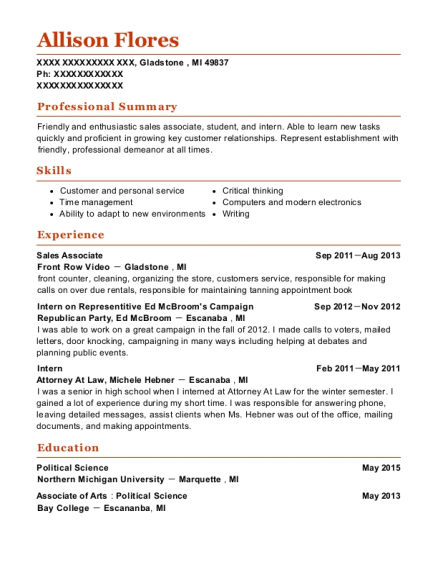 Sales Associate resume example Michigan