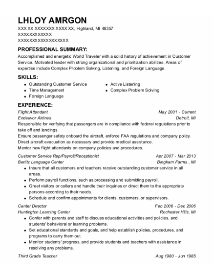 Flight Attendant resume sample Michigan