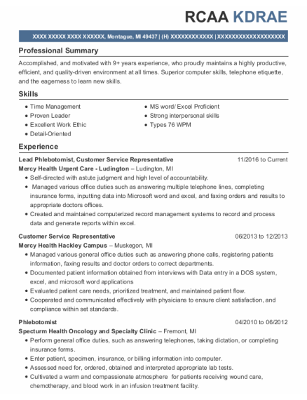 Lead Phlebotomist resume example Michigan