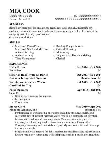 Hi Lo Driver resume sample Michigan