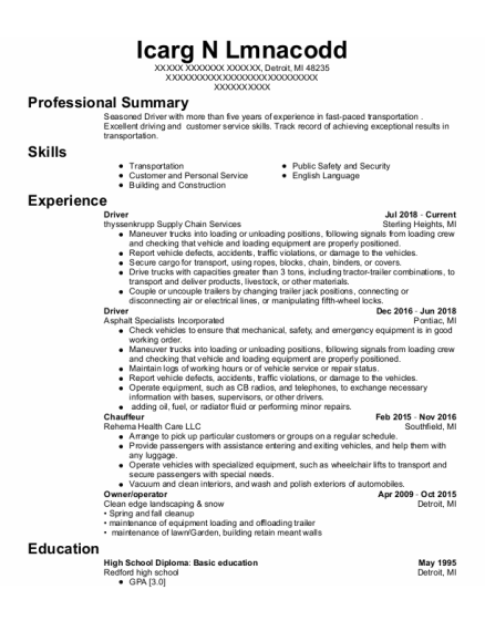 Driver resume example Michigan