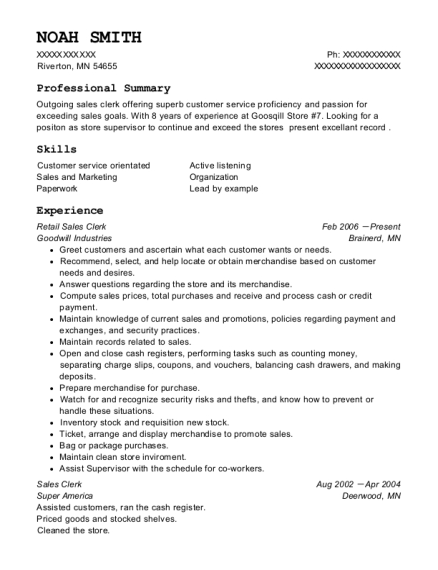 Retail Sales Clerk resume sample Minnesota