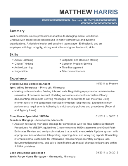 Student Loans Collection Agent resume format Minnesota