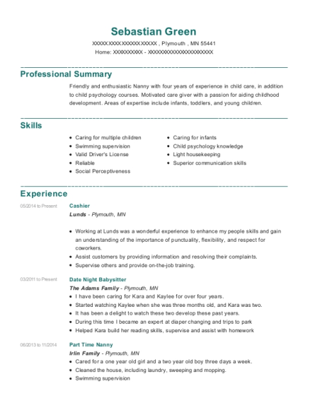 Cashier resume sample Minnesota