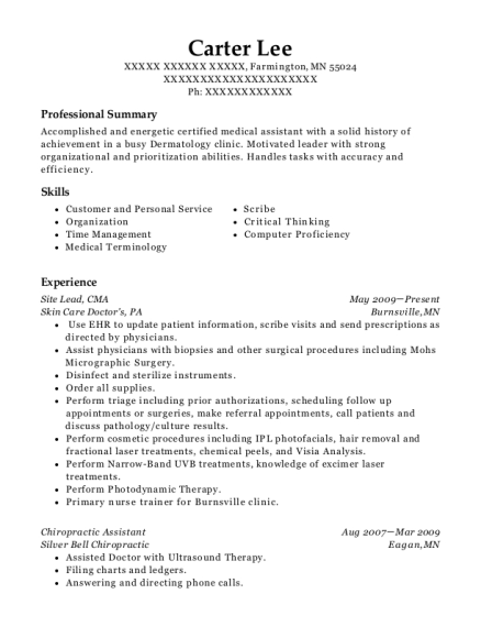 Site Lead resume example Minnesota