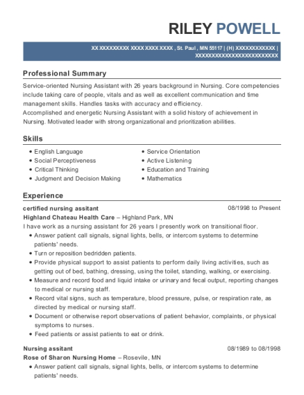 certified nursing assitant resume format Minnesota