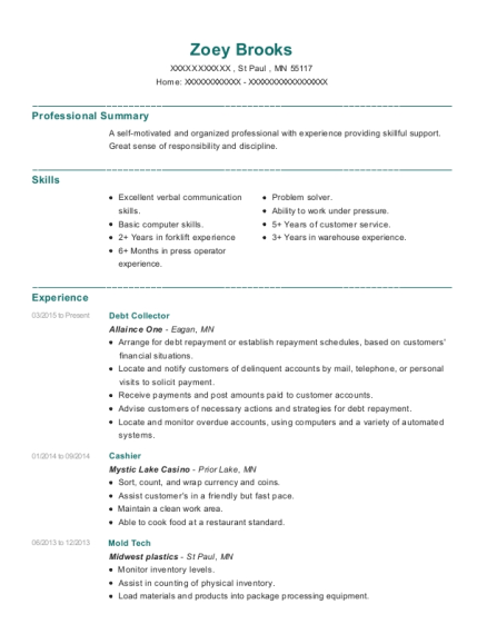 Debt Collector resume example Minnesota