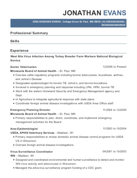 Senior Veterinarian resume example Minnesota