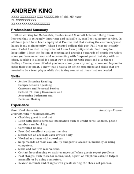 Front Desk Associate resume format Minnesota