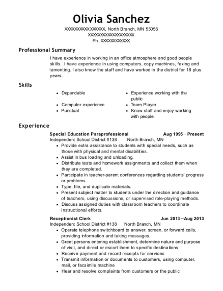 Special Education Paraprofessional resume template Minnesota