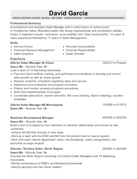 District Sales Manager St Cloud resume template Minnesota