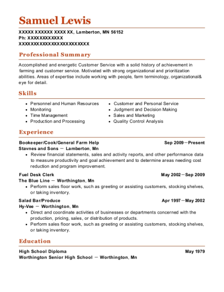 Bookeeper resume sample Minnesota