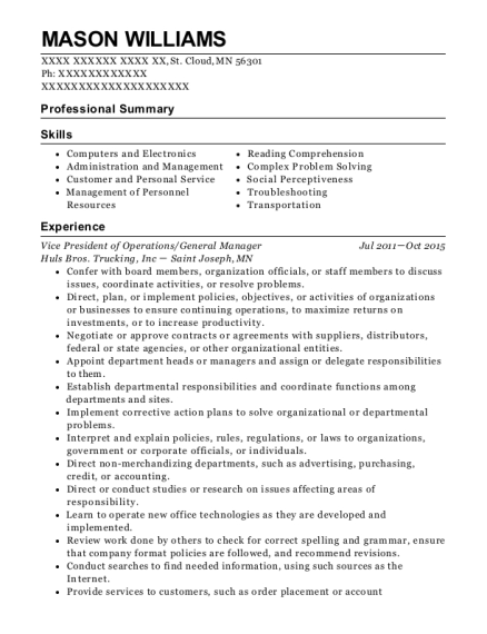 Vice President of Operations resume format Minnesota