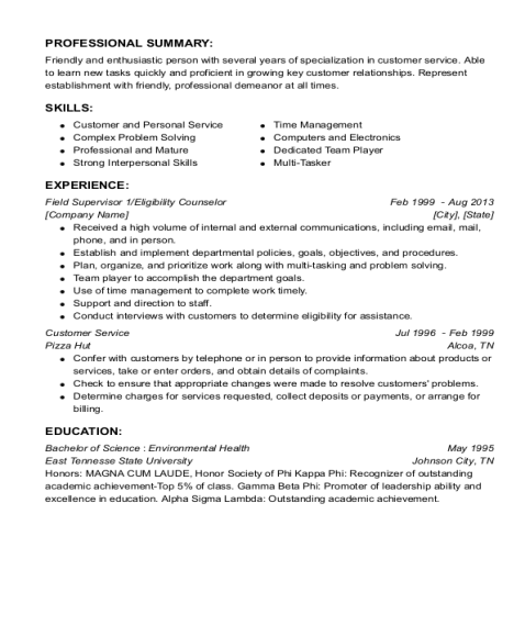 Field Supervisor 1 resume sample Minnesota