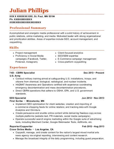 us army 74d cbrn specialist resume sample