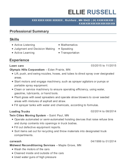 Lawn care resume sample Minnesota