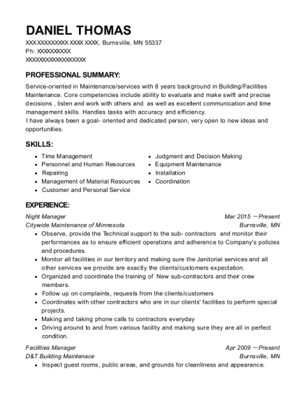 Night Manager resume example Minnesota