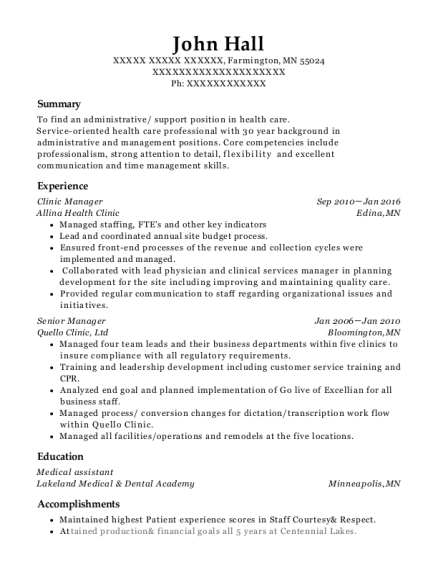 Clinic Manager resume template Minnesota