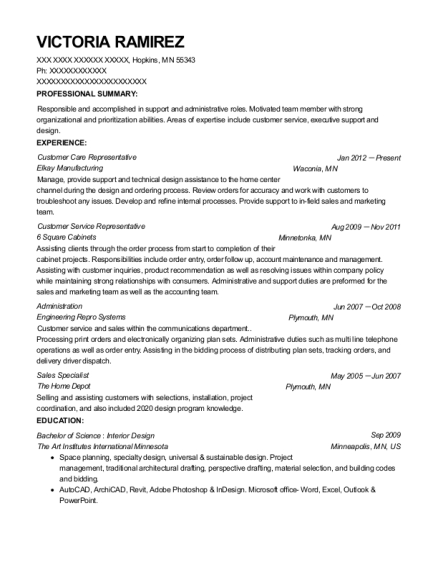 Customer Care Representative resume example Minnesota
