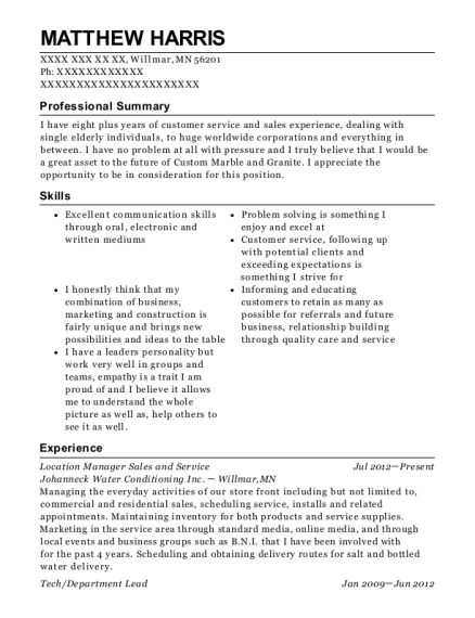 Location Manager Sales and Service resume example Minnesota