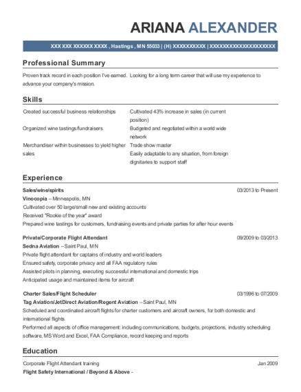 Pentastar Aviation Lead Flight Attendant Resume Sample Resumehelp