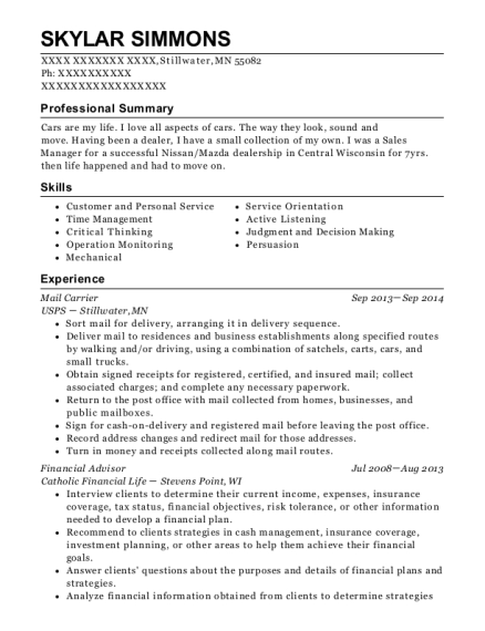 Mail Carrier resume example Minnesota